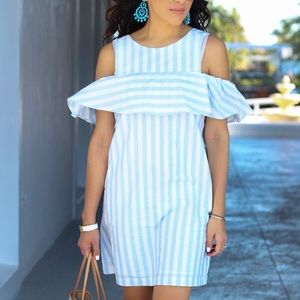 Stripped Bare Shoulder Mini Dress